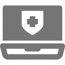 laptop, security, shield icon