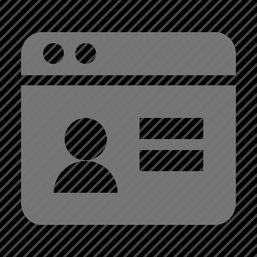 application, profile, user, window icon