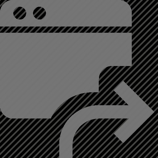 application, arrow, forward, send, window icon