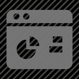 application, graph, pie chart, window icon