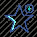 arrow, down, favorite, rating, star