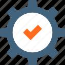 accept, approve, check, checkmark, cogwheel, quality, success icon