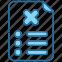 list, checklist, document, denied, cancel, block, rejected