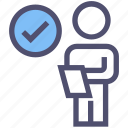 approved, check mark, document, list, paper, person, user icon