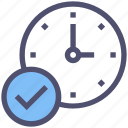 approved, check mark, clock, complete, finished, ok, time icon