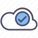 approved, check mark, cloud, complete, done, good, ok icon