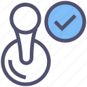 approved, check mark, complete, post stamp, stamp, verified, verified stamp icon