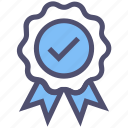 approved, award, check mark, medal, prize, ribbon, verified icon