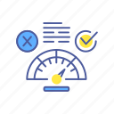 accepted, agreement, answer, checkmark, choice, confirmed, speedometer icon