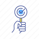 accepted, agreement, approved, checkmark, gesture, hand, holding icon