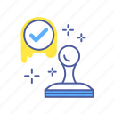certified, approved, agreement, done, stamp, checkmark, successful icon