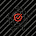 goal, mark, purpose, success, target, tick, win icon