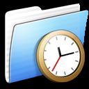 aqua, clock, folder, stripped icon