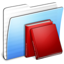 aqua, folder, library, stripped icon