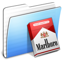 aqua, folder, marlboro, stripped icon