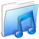 aqua, folder, music, stripped icon