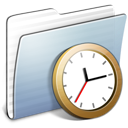 clock, folder, graphite, stripped icon