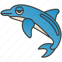 aquatic, dolphin, intelligence, mammal, ocean icon