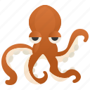 ocean, octopus, siphon, tentacles, wildlife icon