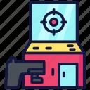 arcade, pistol, shoot, target