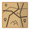 archeology, design, map, navigation, locations icon