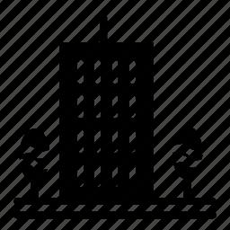 architect, architecture, building, business, skyscraper, trees icon