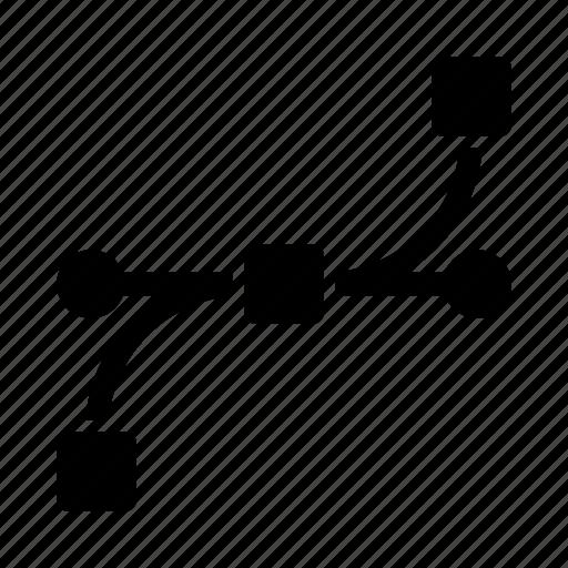 bezier, design, graphic, path icon