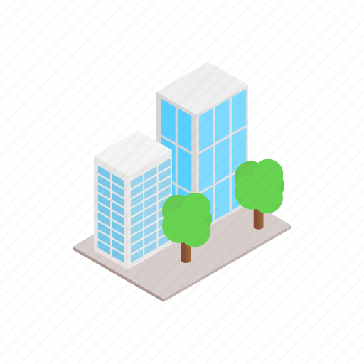 architecture, building, business, glass, isometric, office, tree icon
