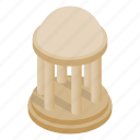 isometric, column, park, dome, roof, rotunda, architecture