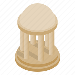 architecture, column, dome, isometric, park, roof, rotunda icon