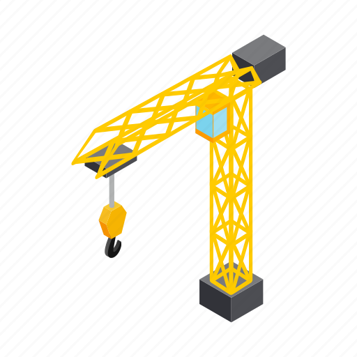 Construction, crane, equipment, industry, isometric, machinery, work icon - Download on Iconfinder