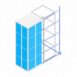 architecture, building, construction, glass, isometric, office, plan icon
