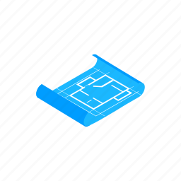 business, concept, construction, isometric, paper, plan, tool icon