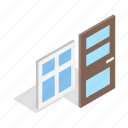 architecture, door, home, house, interior, isometric, window icon