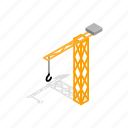 architecture, construction, crane, equipment, industry, isometric, work icon