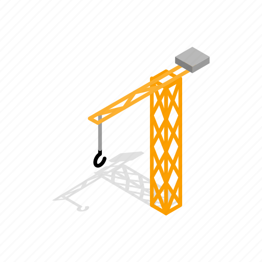 architecture, construction, crane, equipment, industry, isometric, work icon