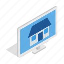 computer, control, house, isometric, laptop, screen, website icon
