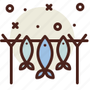captured, fish, snow, winter icon