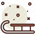 sled, snow, winter icon