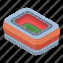 cartoon, football, frame, house, isometric, sport, stadium