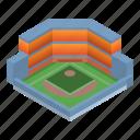 arena, baseball, cartoon, football, house, isometric, sport