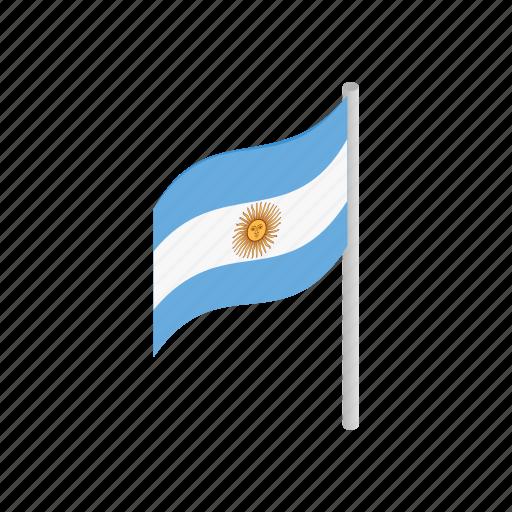 argentina, flag, isometric, nation, national, patriotism, sun icon