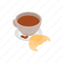 argentina, breakfast, coffee, croissant, drink, isometric, morning icon