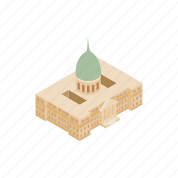 congress, destination, exterior, famous, federal, government, isometric icon