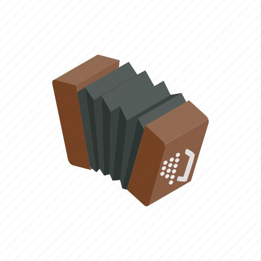 accordion, argentina, instrument, isometric, keyboard, musical, tango icon
