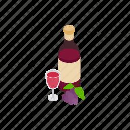 alcohol, argentina, bottle, grape, isometric, red, wine icon