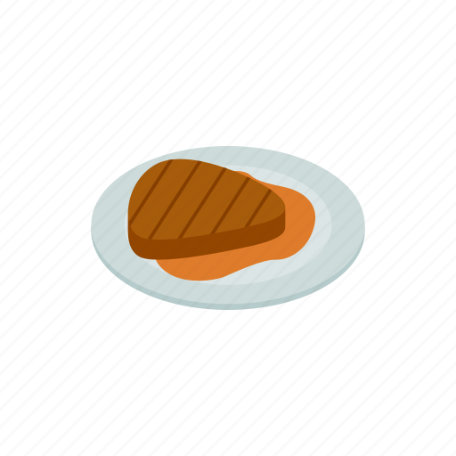 background, food, grilled, isometric, meal, protein, steak icon
