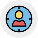 aim, army, focus, man, military, people, target icon
