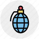 bomb, grenade, hand bomb, military, navy, war, weapon icon