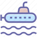 army, equipment, military, ocean, submarine, vehicle icon